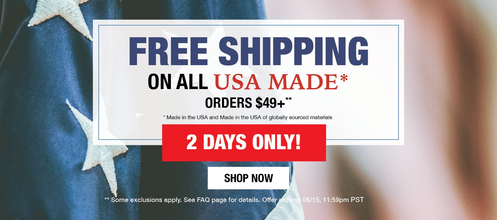 Free Shipping on USA Made Orders $49+