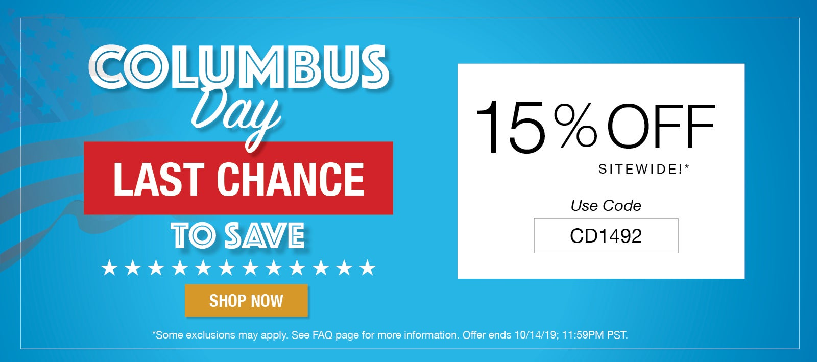 15% Off Sitewide For Columbus Day
