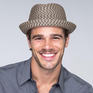 Man wearing Bailey braided straw fedora