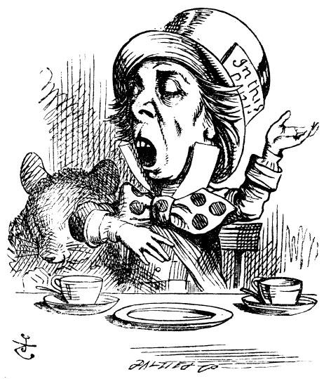Original Mad Hatter Illustration by John Tenniel. Courtesy of http://www.alice-in-wonderland.net