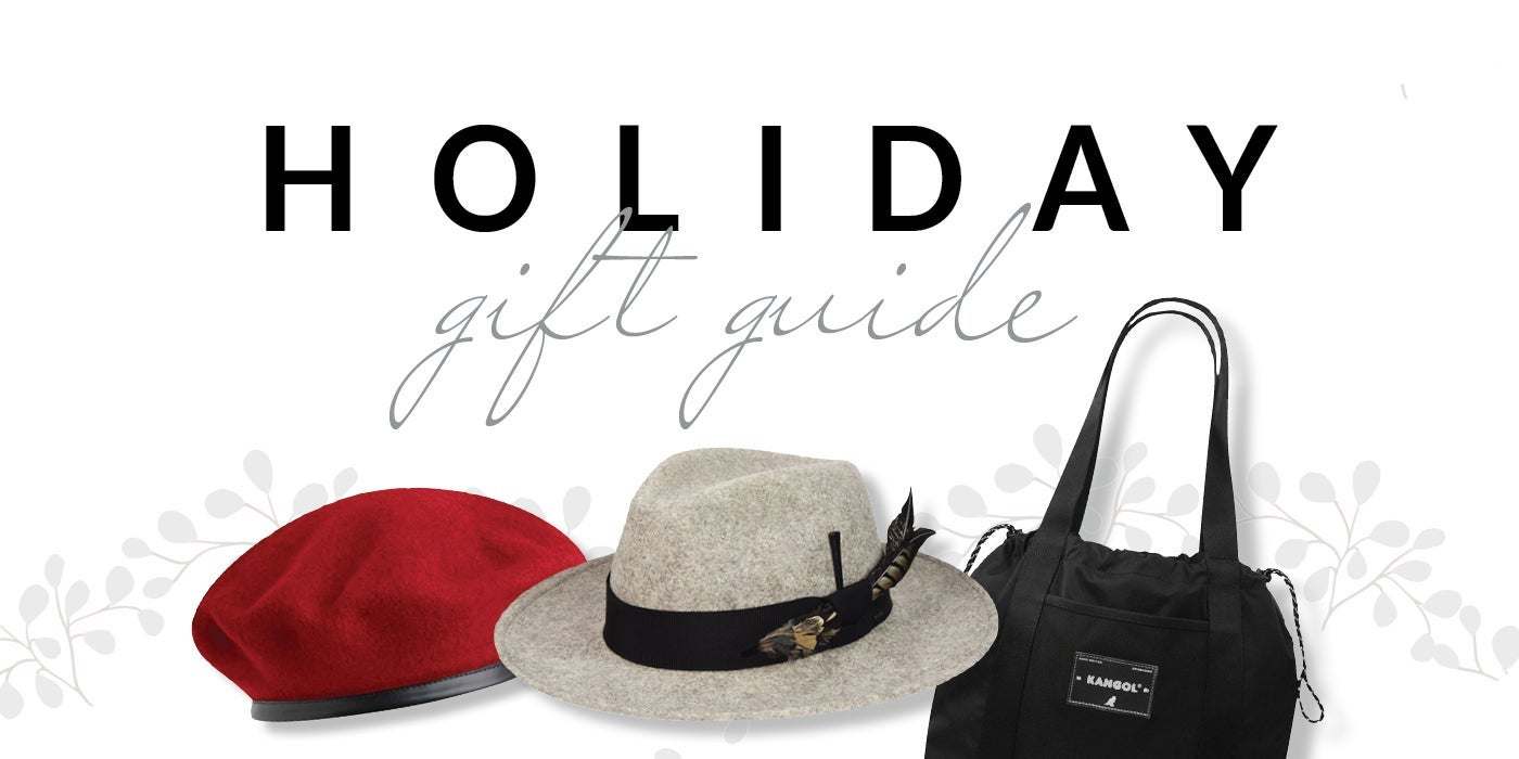Hats.com's Holiday Gift Guide, along with a picture of two hats and a purse.