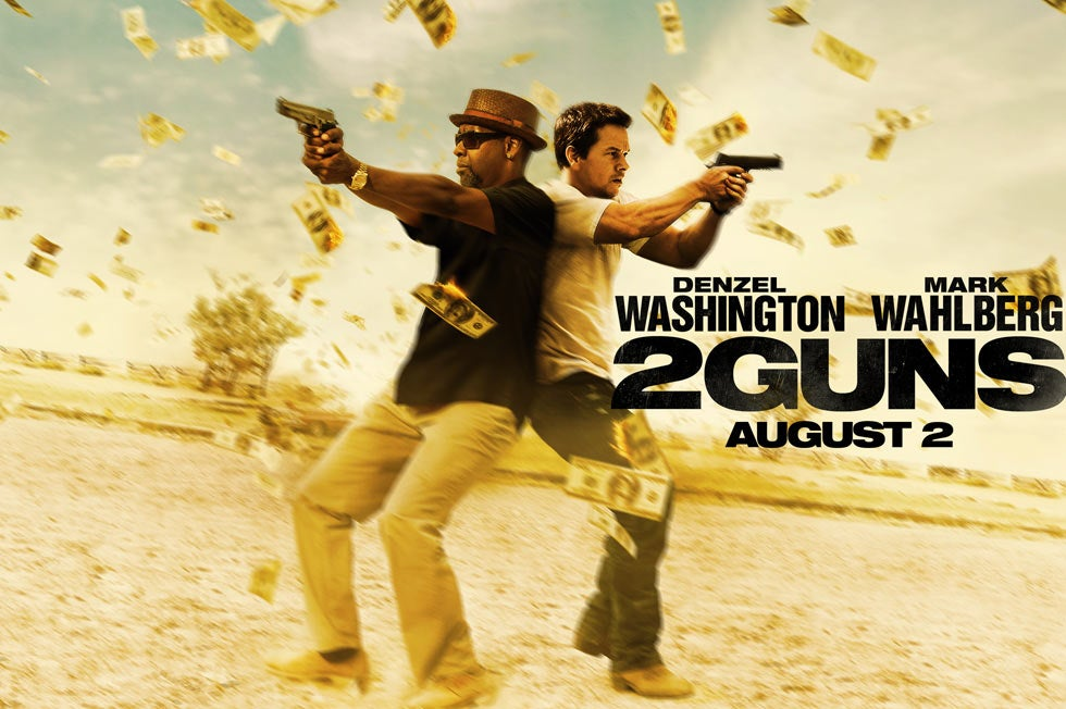 2 Guns promotional image with Denzel Washington and Mark Wahlberg
