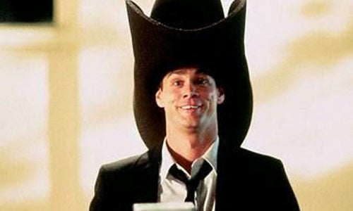 Jim Carrey's Harry from Dumb & Dumber in his giant cowboy hat